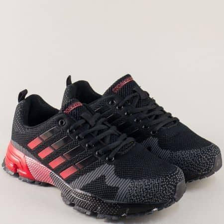 Мъжки маратонки в черно и червено с връзки v71194-45chchv
