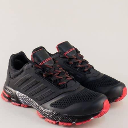 Мъжки маратонки Bulldozer в черно и червено с връзки v71270-45chchv