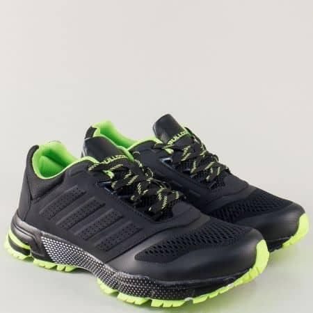 Мъжки маратонки в черно и зелено на удобно леко ходило и практични връзки v71270-45chz