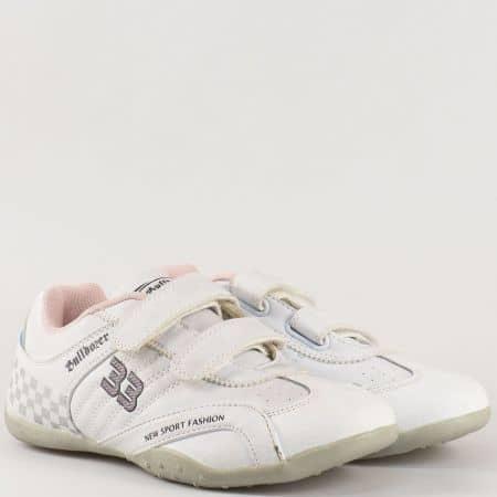 Детски бели маратонки с две лепки- Bulldozer  v8613-35b