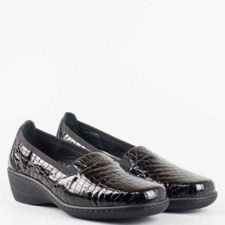 Ежедневна комфортна обувка от 100% естествена кожа с ортопедична стелка с кроко принт z1114krch