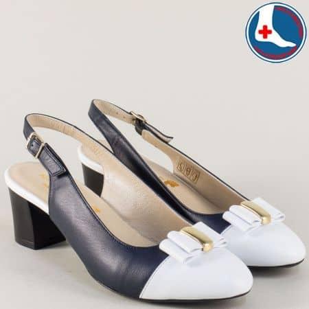 Анатомични дамски обувки на среден ток синьо и бяло z1225s