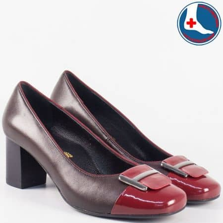 Комфортни дамски обувки на среден ток- Naturelle от естествена кожа в цвят бордо z1502tbd