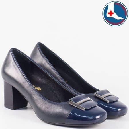 Стилни- анатомични дамски обувки на среден ток- Naturelle от синя естествена кожа z1502ts