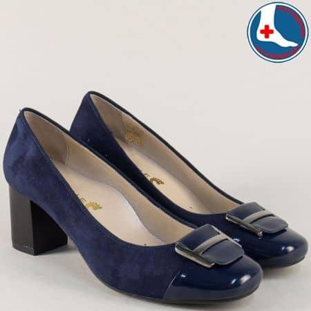 Тъмно сини дамски обувки от естествен велур и лак на среден ток z1502tvs
