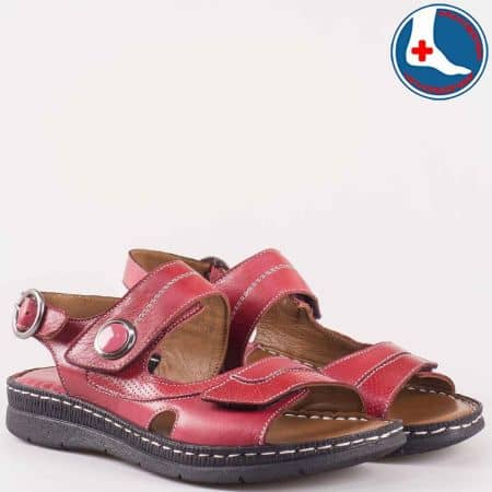 Дамски сандали с изчистена, класическа визия произведени от 100% естествена кожа на Naturelle в червено z15450102bd