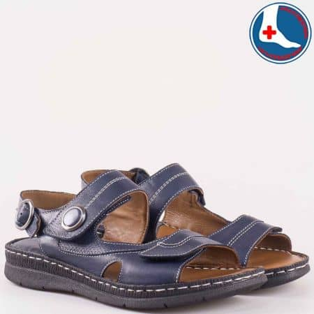 Дамски сандали за всеки ден изработени от изцяло естествена кожа, включително и анатомичната стелка в синьо z15450102s
