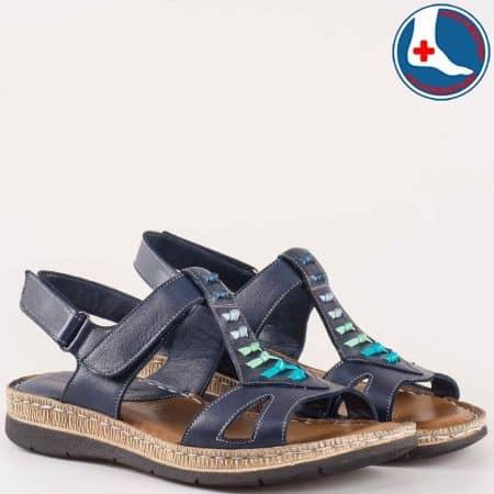Дамски сандали за всеки ден на комфортно ходило с кожена ортопедична стелка на Naturelle в син цвят z154503s