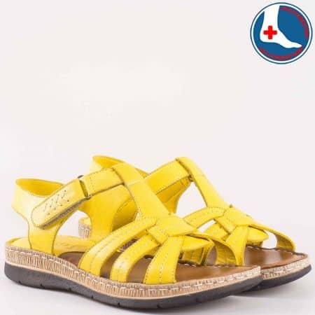Дамски ортопедични сандали с лепка на шито, комфортно ходило с мека кожена стелка- Naturelle от естествена кожа в жълт цвят  z1545050j