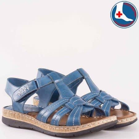 Дамски комфортни сандали произведени от изцяло естествена кожа, включително и ортопедичната стелка на Naturelle в син цвят z1545050s
