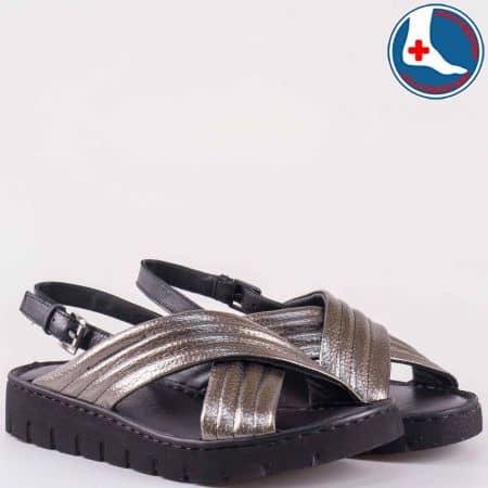 Дамски сандали изработени от изцяло естествена кожа с ортопедична стелка на Naturelle в бронзово z1547103brz