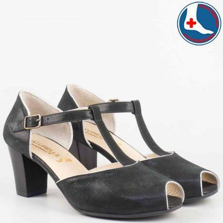 Дамски обувки от естествена кожа с каишка на удобно анатомично ходило на марката Naturelle z1653ch
