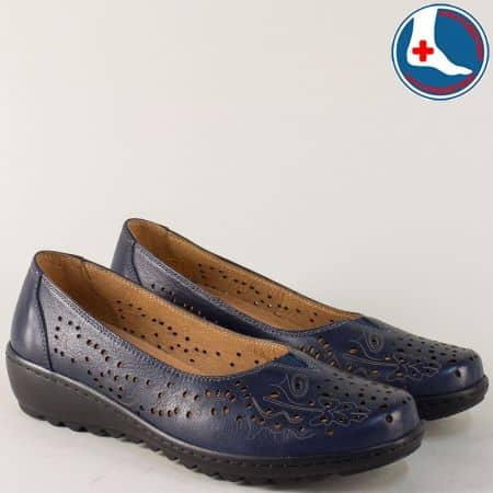 Тъмно сини дамски обувки от естествена кожа на равно ходило z166s