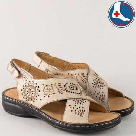 Кожени дамски сандали в бежово на равно ходило z172bj