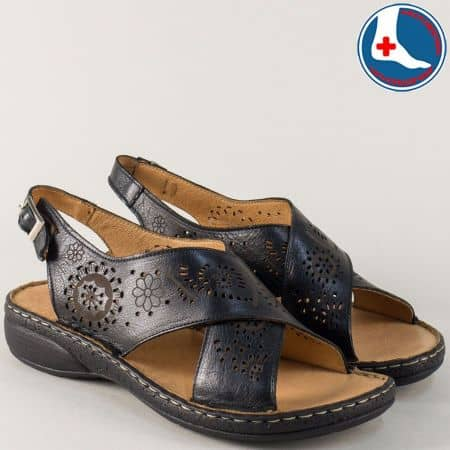 Черни дамски сандали от естествена кожа на равно ходило z172ch