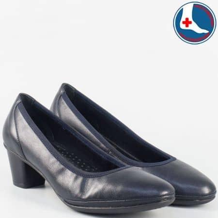 Кожени дамски ортопедични обувки на среден ток- Naturelle в син цвят z173001s
