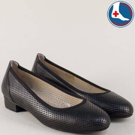 Черни дамски обувки от естествена кожа на нисък ток z173803ch