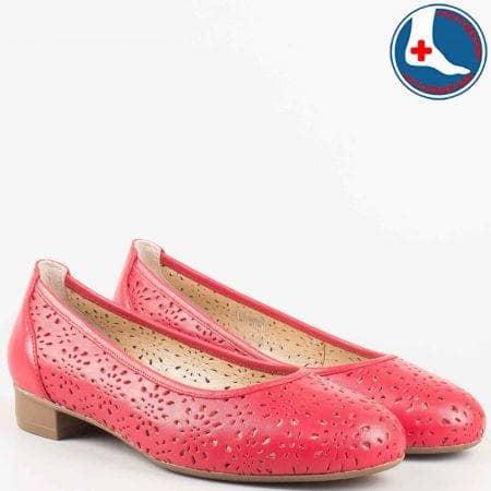 Дамски червени обувки на нисък ток и кожена ортопедична стелка- Naturelle от перфорирана естествена кожа  z173803chv