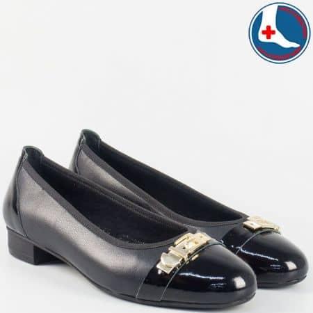 Кожени дамски анатомични обувки на нисък ток- Naturelle в черен цвят z173809ch