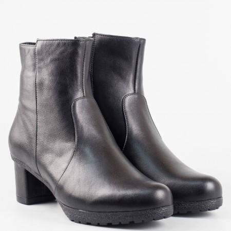 Ежедневни черни дамски боти от естествена кожа с модерен дизайн  z22603ch