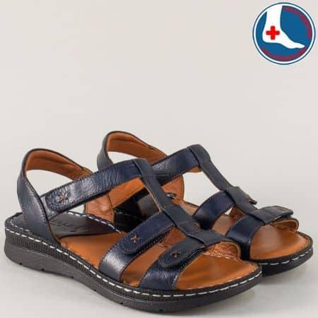 Тъмно сини дамски сандали с анатомична стелка от естествена кожа z240317s