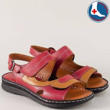 Кожени дамски сандали на анатомично ходило в бордо и кафяво z260317bd