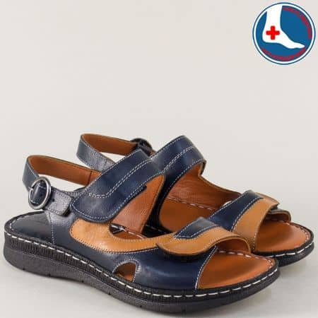 Анатомични дамски сандали в синьо и кафяво- Naturelle z260317s