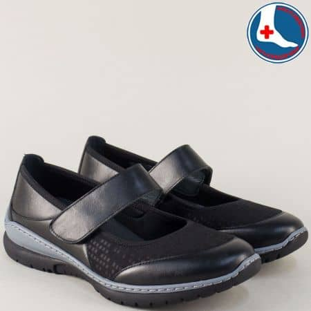 Шити дамски обувки от черна естествена кожа с лепка z270317ch