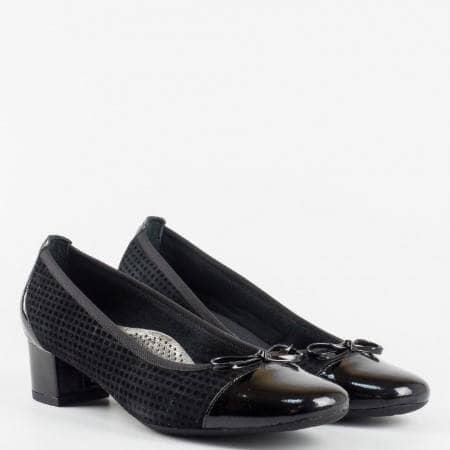 Дамски обувки с ортопедична стелка от естествена кожа Naturelle черен цвят z56020vch