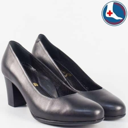 Черни- ортопедични дамски обувки от естествена кожа- Naturelle на среден ток z631502ch
