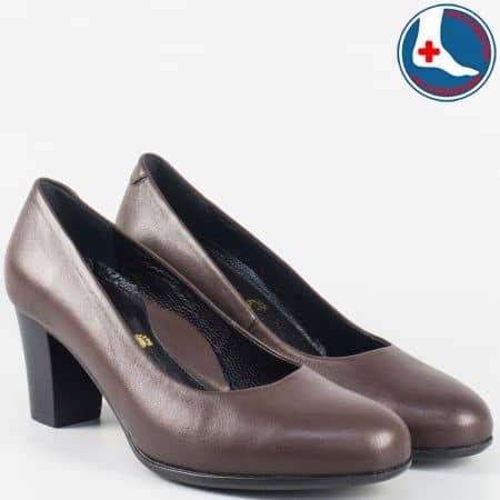 Тъмно кафяви дамски обувки от естествена кожа- Naturelle z631502kk