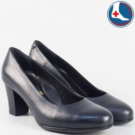 Сини- анатомични дамски обувки на среден ток- Naturelle от естествена кожа z631502s