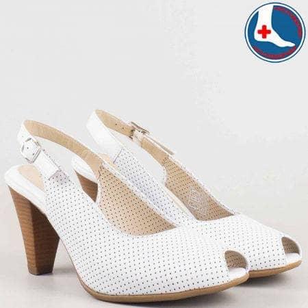 Ортопедични дамски сандали на висок ток от бяла естествена кожа с перфорация- Naturelle  z68080b