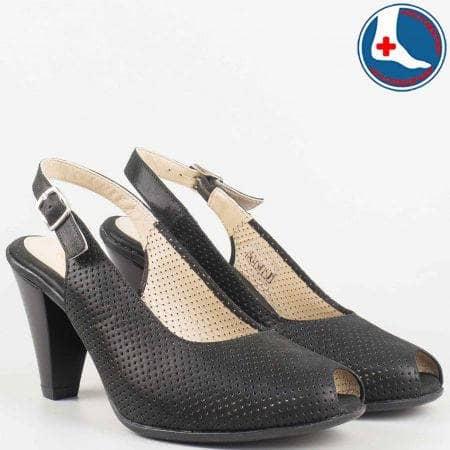 Дамски атрактивни сандали произведени от изцяло естествена кожа на Naturelle в черен цвят z68080ch