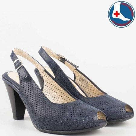 Перфорирани дамски сандали на висок ток в син цвят от естествена кожа- Naturelle с кожена анатомична стелка  z68080s