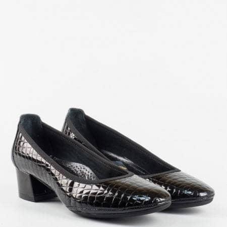 Черни  ортопедични дамски  обувки  от 100 %  естествена кожа z695701krlch