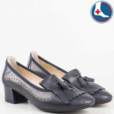 Комфортни дамски обувки на среден ток с ресни в син цвят от естествена кожа- Naturelle z695710s