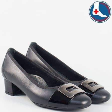 Дамски ортопедични обувки от черна естествена кожа и лак- Naturelle на среден ток z70990ch