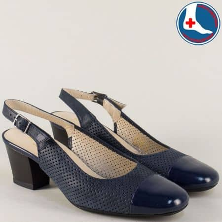 Дамски сандали Naturelle на среден ток от естествена кожа и лак в син цвят z7610s