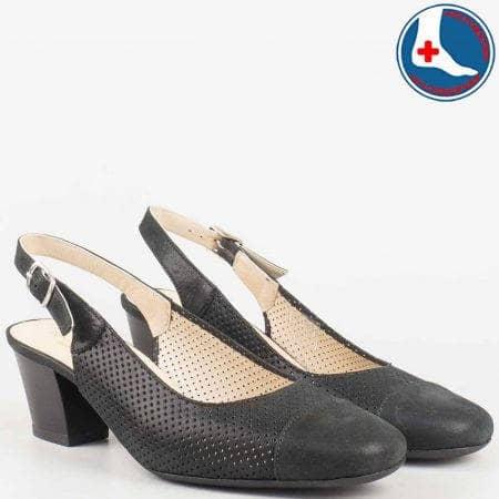 Дамски обувки от черна естествена кожа с перфорация z7610sch