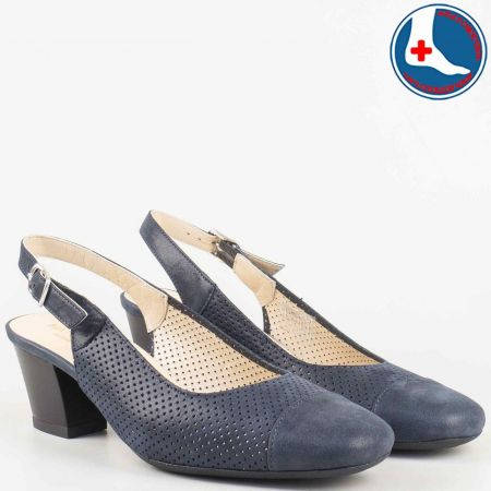 Анатомични дамски обувки с отворена пета на среден ток от перфорирана естествена кожа в син цвят- Naturelle  z7610ss