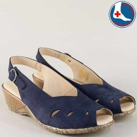 Сини дамски сандали Naturelle от естествен набук на клин ходило z9952s