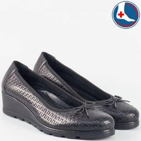 Дамски ежедневни обувки в черно от естествена кожа zk01ch