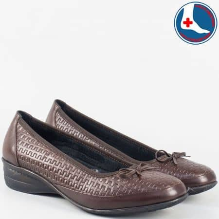Кафяви- анатомични дамски обувки- Naturelle от естествена кожа zk02kk