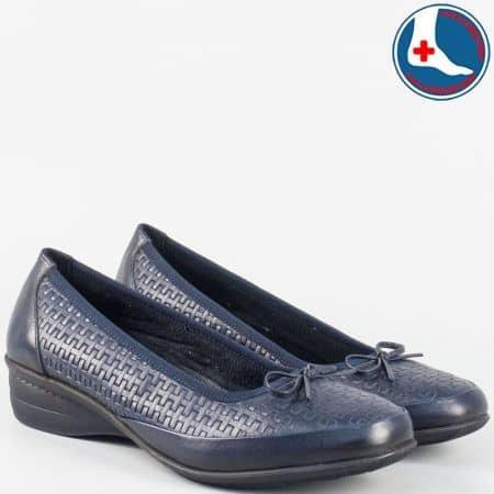 Дамски обувки на нисък ток- Naturelle от синя естествена кожа zk02s