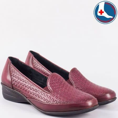 Анатомични дамски обувки от естествена кожа- Naturell в цвят бордо zk03bd