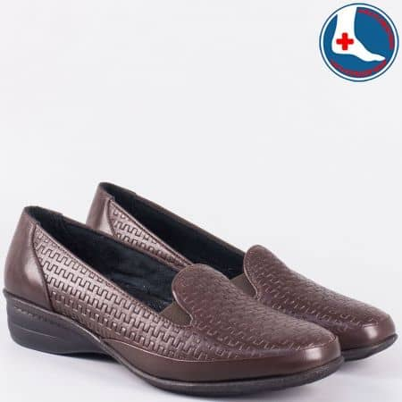 Дамски комфортни обувки от кафява естествена кожа- Naturelle на нисък ток zk03kk