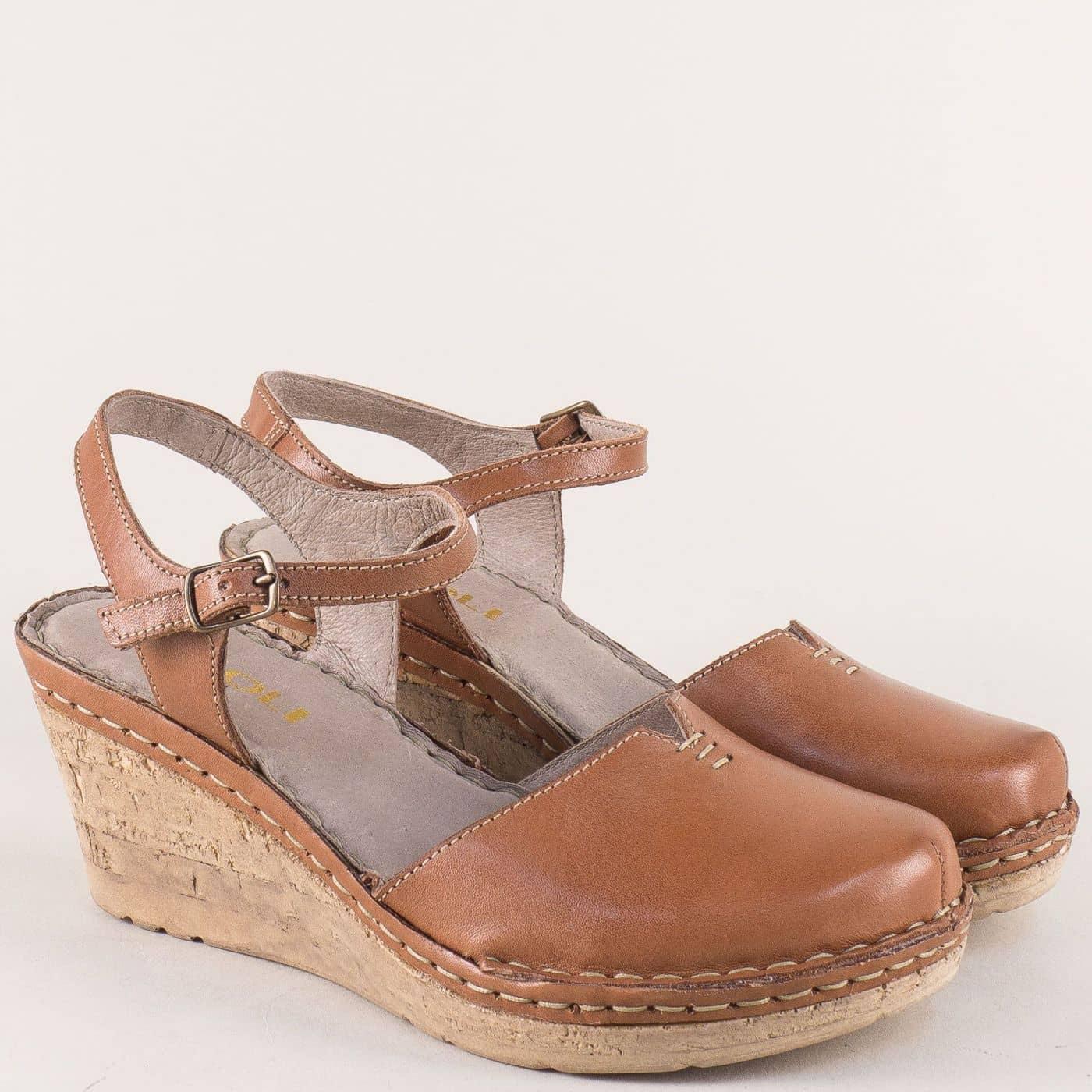 16a8b472911 Кожени дамски сандали в кафяв цвят на комфортна платформа 1102189k - Zebra  1992