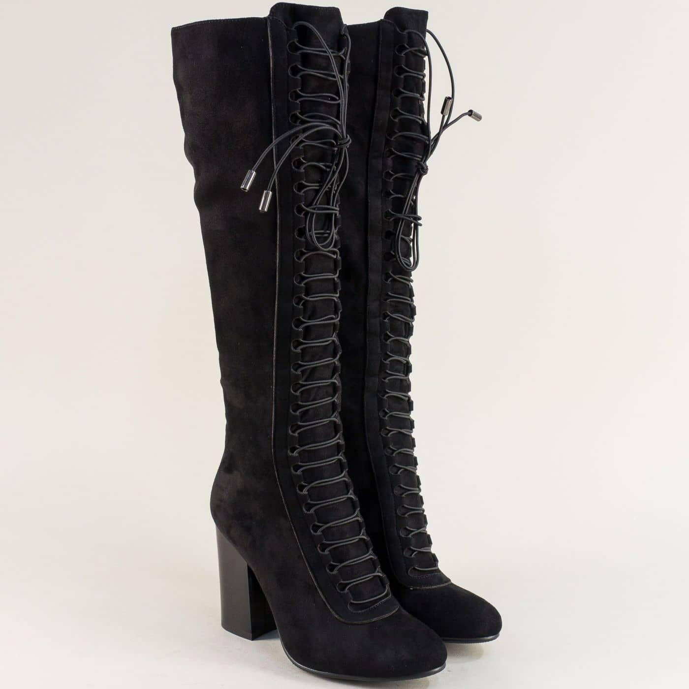 54e2eee87ec Черни дамски ботуши над коляното с ластични връзки 115775nch - Sisi-bg.com