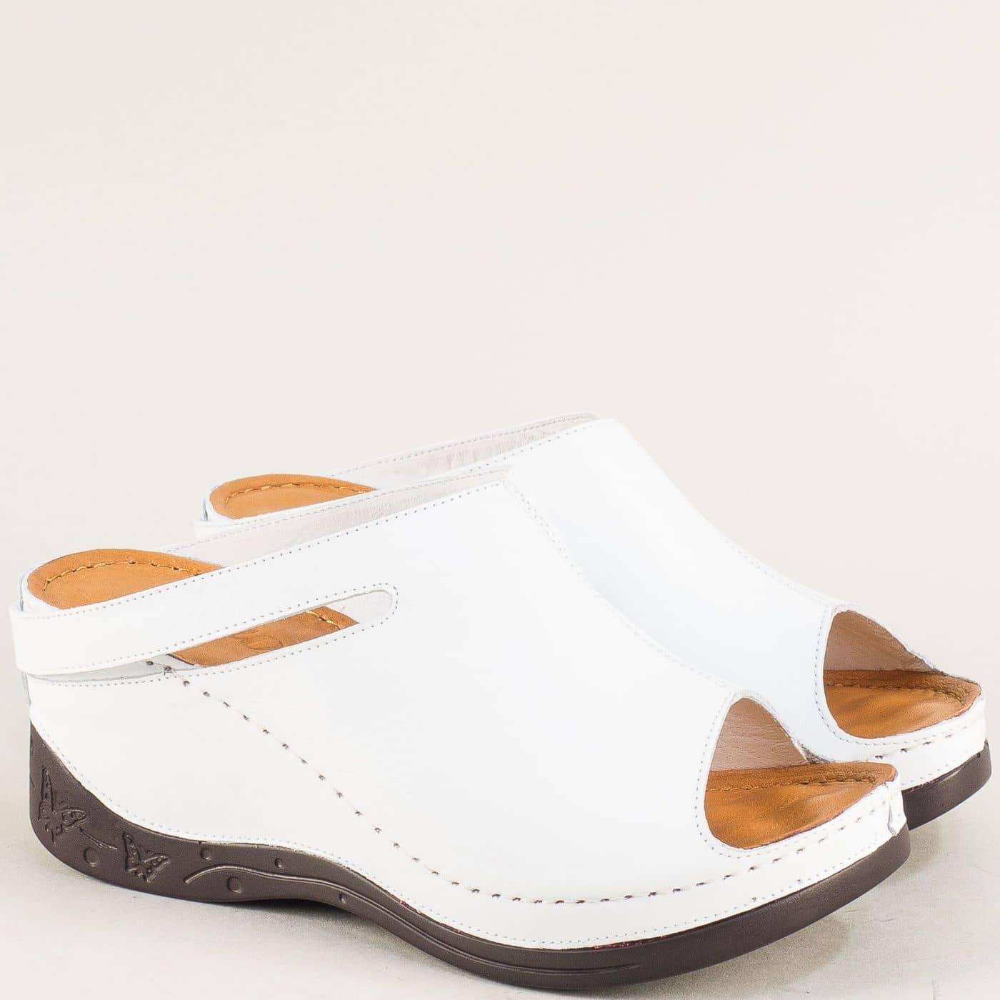 397aacca75a Анатомични дамски чехли от бяла естествена кожа 129322b - Sisi-bg.com